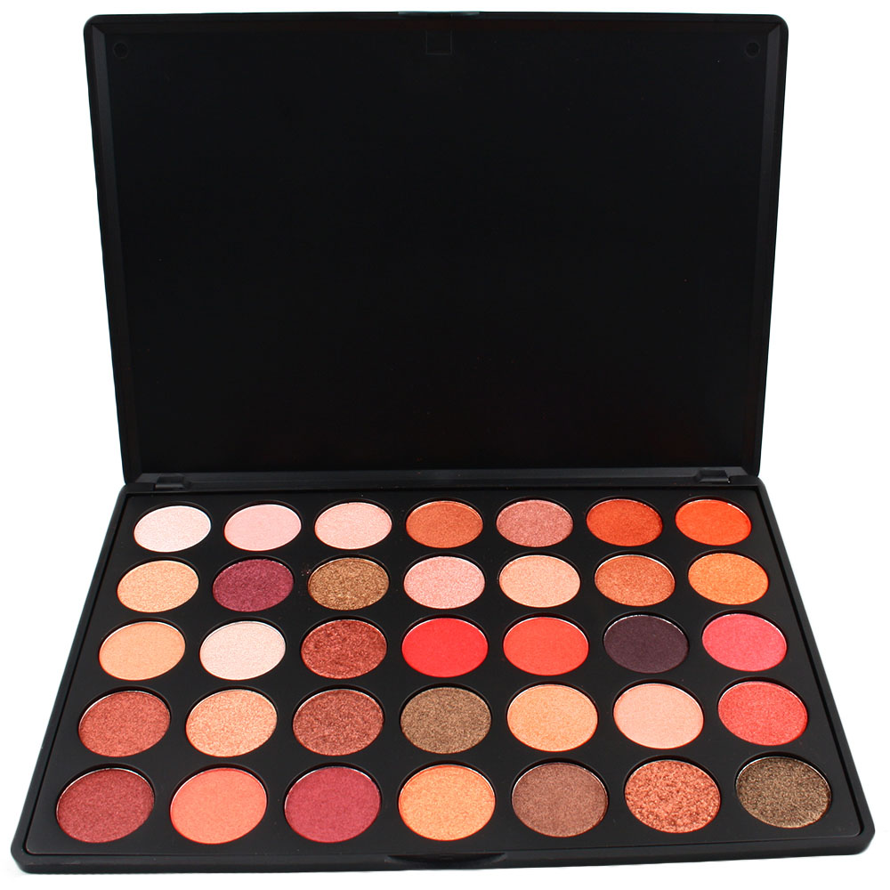 OEM Fashion Hot Cosmetic Mineral 35 Colors Organic Matte Shimmer Glitter Eyeshadow Palette Makeup Waterproof