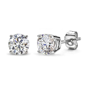 925 Sterling Silver One Stone Round Forever Brilliant Stud Earrings jewellery 2019