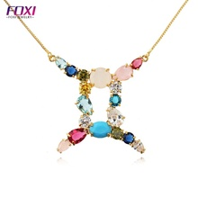 Colorful zircon twelve constellations pendant Necklace