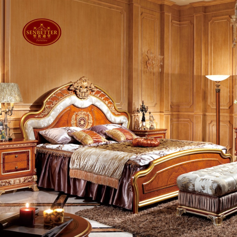 0062 Italy Luxury modern and antique bedroom set design neo-classic royal wooden bedroom set furniture