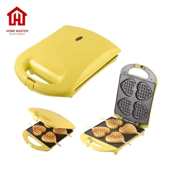 Hot selling handle 4 heart waffles on stick waffle maker