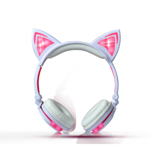 Factory price custom cute and fashion headphone cat bulk headset for computer with rechargeable battery