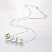 Luxurious 925 sterling silver jewelry pendant silver freshwater pearl necklace