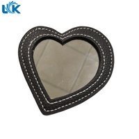 Customized Very Cheap Gifts Items Leather Unisex Mini Pocket Promotional Mirror