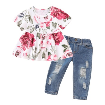 Kid Girl Floral Short Sleeve Ruffle Blouse + Ripped Jeans Baby Clothing Set