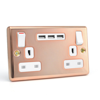 Double usb 2 gang standard uk wall mounted power outlet USB socket switches electric
