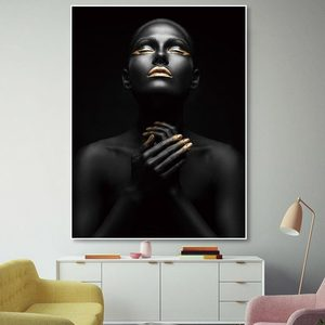 Abstract Wall Art Pictures African Lady Lips Gold Modern Home Canvas Painting Beauty Decor Posters