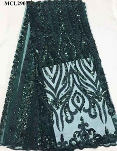 New styles deep green sequins embroidery with beaded bridal lace fabric 2019 india sequins beads lace tulle