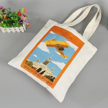 Fashion Printing durable reuse eco friendly cotton canvas tote shopping bag for gift