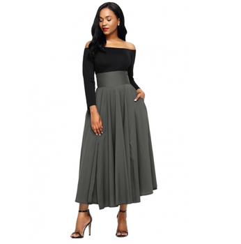 Red Blue Gray Black Retro High Waist Pleated Belted Maxi Skirt Women Fashion 2019