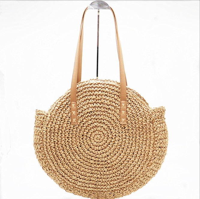 01c7262374d4 Для женщин Винтаж Ретро соломенная вязаная сумка большой круглый соломенная  сумка