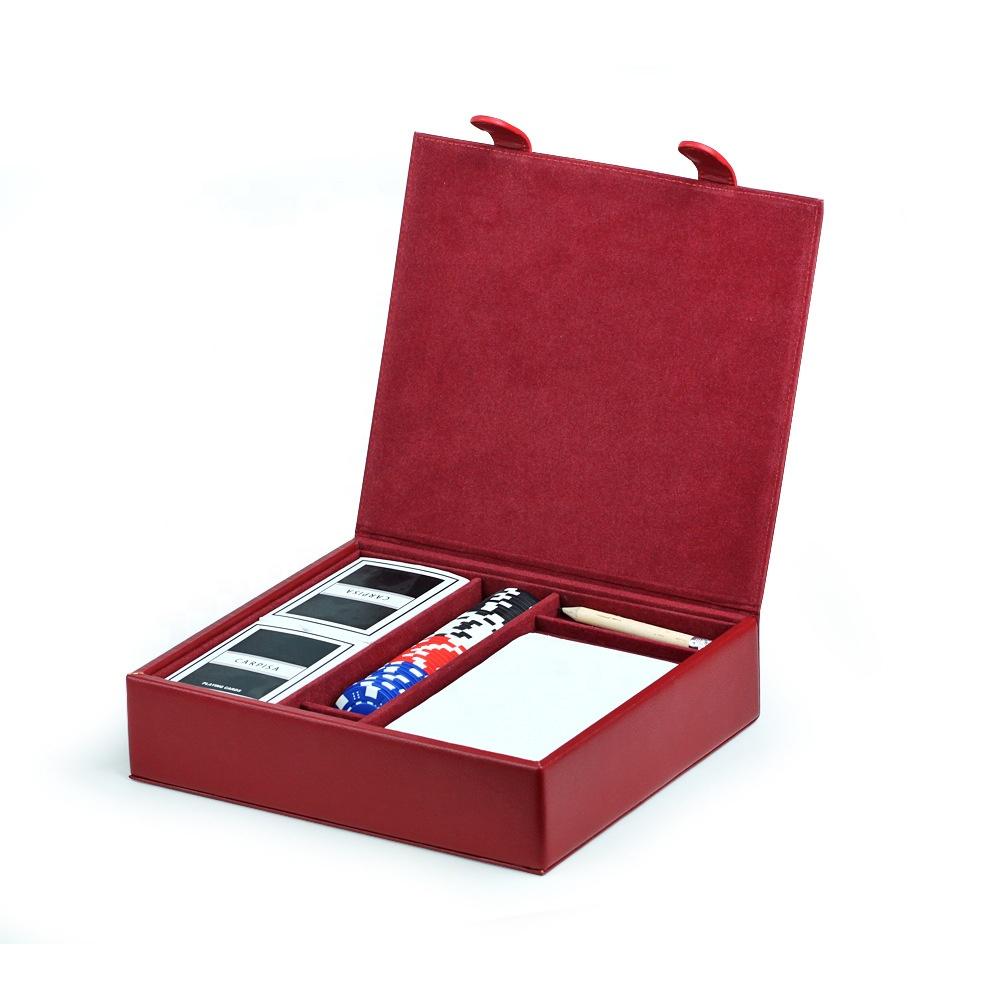 Taşınabilir deri oyun kartı saklama kutusu poker cips seti poker kutusu