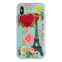 for iphone x slim case tpu frame colorful pattern 2 in 1 hybrid epoxy phone case