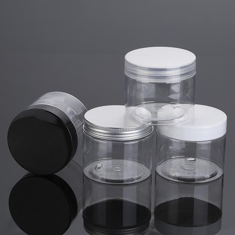 cosmetic packaging 30ml 50ml 100ml 120ml 200ml 250ml 500ml clear amber black pet plastic cream jar with plastic lid