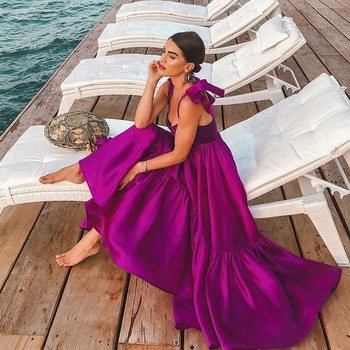 Quality Party Dresses Women Solid Color Purple Ruffle Irregular Hem Sexy Square Neck Casual Long Silk Satin Prom Dress Women