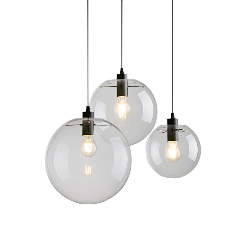 נורדי מפואר בציר תעשייתי נברשת תליון אור עם ברור זכוכית בית תאורה מודרני מנורת Led