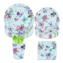 Butterfly Theme Party Supplies Happy Birthday Beautiful Butterfly Pattern 7/9 Inches Disposable Paper Plate Cups Napkins