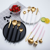 Hot Sale 4 Pcs/set White Gold european knife Dinnerware 304 Stainless Steel Western Cutlery Set Kitchen Food Tableware Dinner