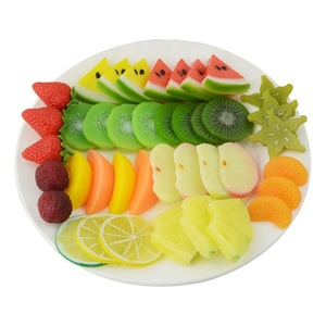 Highly Simulated Mixed kiwi Lemon Apple Pineapple Strawberry Watermelon Slices Artificial Fruit Model Home Party