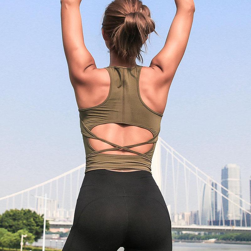 Yeni boş fırfır geri spor salonu bayan Yoga yeleği mahsul kadınlar tank top
