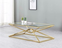 Exclusive Rectangle Shape Glass Top Stainless Steel Frame Coffee Table Side table Console table TV cabinet