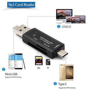 3 in 1 TF SD Card Reader with USB-A Micro USB Type-C Port with OTG for Apple Macbook Samsung Android OTG Phone