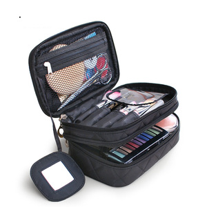 Custom Fashion Waterproof Travel Nylon Flannel Makeup Organizer Case Women Soft Cosmetic Bag Pouch with zipper