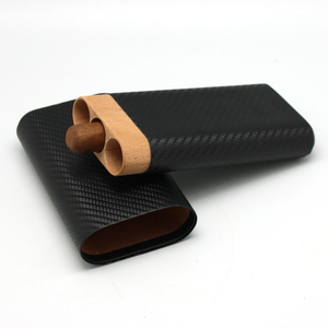custom wholesale portable travel  leather and wood cigar case holder cigar leather case