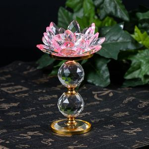 High-grade Double Crystal Glass Ball Base Lotus-shaped Glass Crystal Candlestick