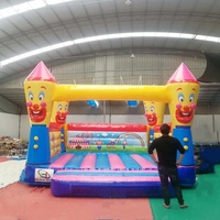 2019 wholesale price inflatable castle best quality clown inflatable bouncy house 0.55mm Plato PVC material air jumping castle