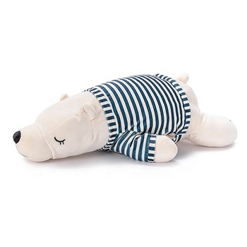soft villi cute 3 in 1 blue polar bear blanket pillow