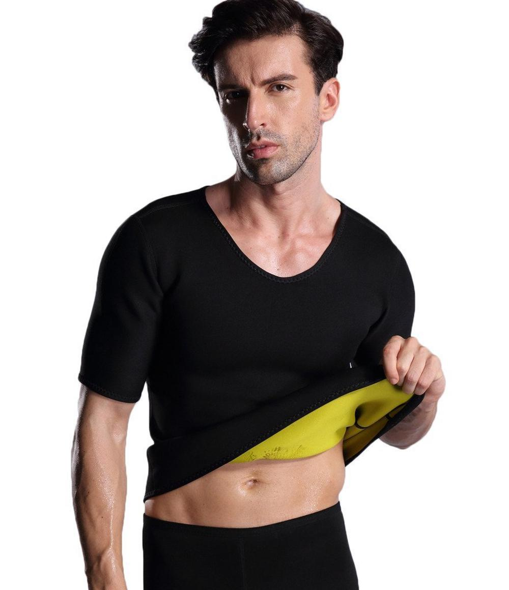 Neoprene 사우나 초 땀 Running Gym Workout Short Sleeve Shirts Men 열 바디 슈트 대 한 Weight 감량