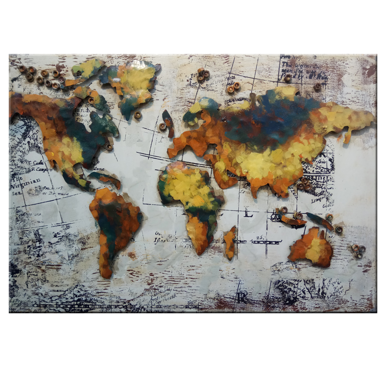 Unique Handmade Metal the colorful world map wall art 3D Metal Painting