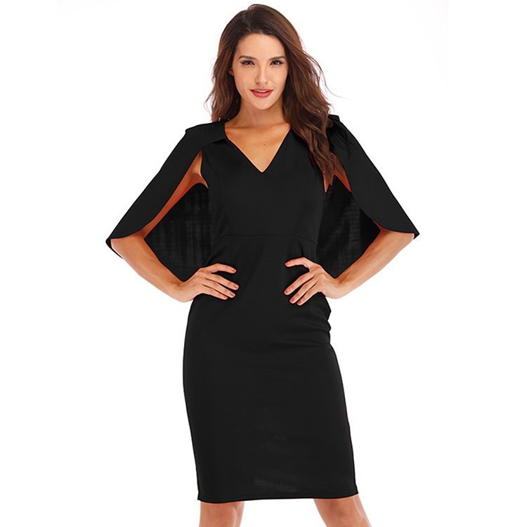 High Quality V Neck Caps Sleeves Solid Color Fashion <strong>Sexy</strong> Bodycon <strong>Dress</strong> Online <strong>Shop</strong>