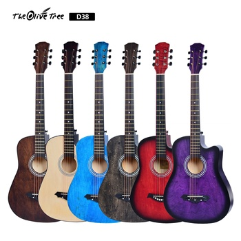 China music instrument 38 inch free OEM full linden wood nonbrand acoustic guitar electric with truss rod