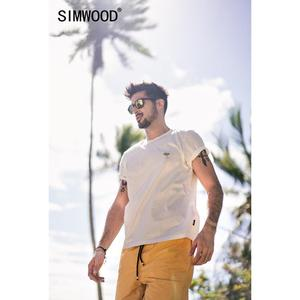 SIMWOOD New 2019 Summer t shirts men short sleeve casual cheap wholesale men tshirt brand clothes embroidered tops tees 190293