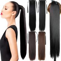 Wig Hair Ponytail 105g 22 Long Straight Hair Pieces Drawstring Ribbon Hairpiece Clip In Pony Tail Hair Extensions Multicolor