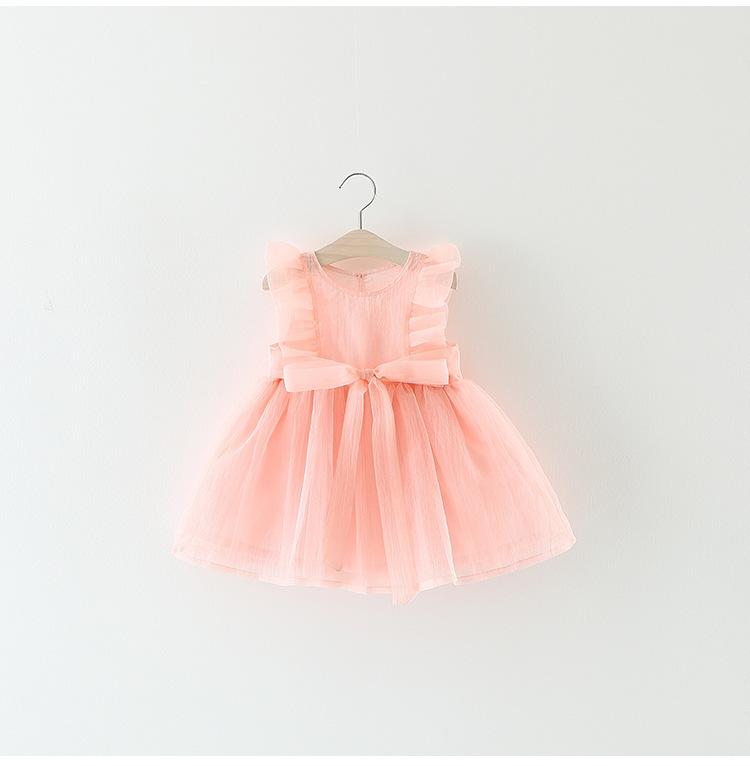 ab5e750d18d3a Bébé Fille Robe D été Rose À Volants Robe avec Noeud Enfant Fille Princesse  Robe