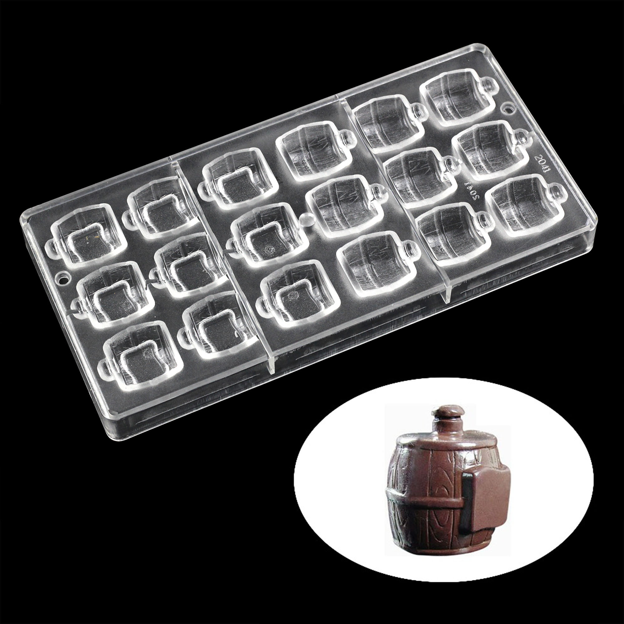 3D Wein barrel Förmigen Polycarbonat Schokolade Mold Harte Poly-carbonate Candy Mould Küche Backen candy werkzeuge