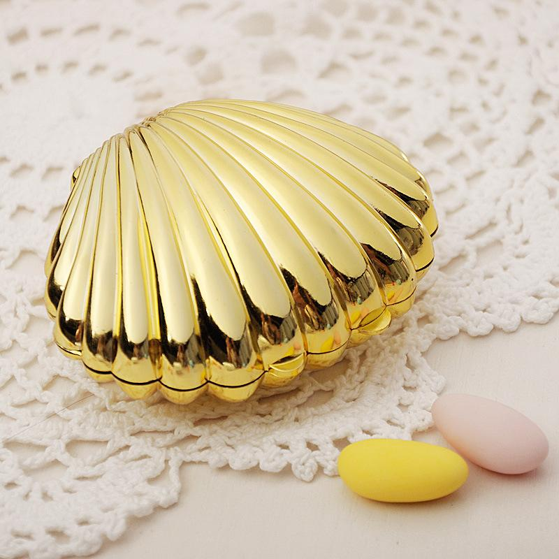 Ywbeyond Shell Vorm Chocolade Doos Zilver Goud Plastic Candy Box Wedding Baby Shower Christmas Party Present Gift Verpakking Box
