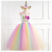 Pastel Unicorn Tutu Dress for Girls Kids Birthday Party Unicorn Costume