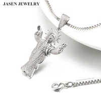 New design jewelry silver pendant cubic zircon pave gold jesus piece pendant jewelry