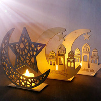 2019 New Arrival 15*15*5cm Wooden Plaque Muslim Home Decoration Ramadan Craft Moon Star for EID Decorations
