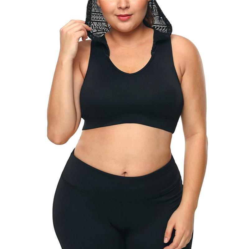 Alta qualidade preto leggings de yoga sutiã de fitness e ginásio conjunto de sutiã plus size acthletic gordura desgaste sutiã dos esportes das mulheres com moletom com capuz