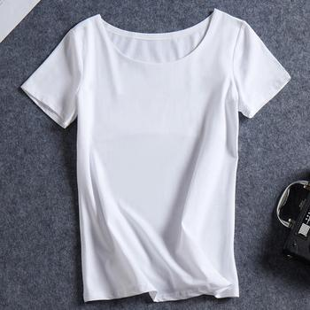 Summer Wear New Female Simple Pure Color Basic Style Found Collar Short Sleeve T Shirt Female