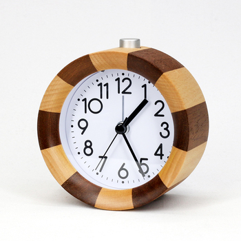 KH-WC022 KING HEIGHT Wooden Small Silent Decorative Table Round Alarm Clock