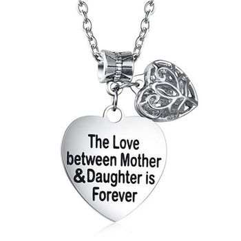 Fashion Jewelry  For Mom The Love Between Mother &Daughter Is Forever Engraved Pendant Necklace