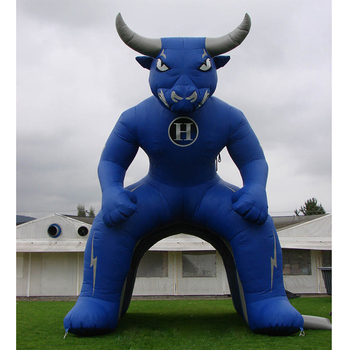Blue Inflatable Bull Tunnel Tent for Advertising on Sport Event