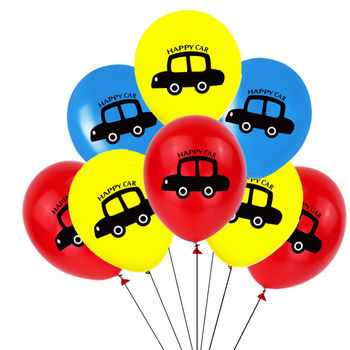 2019 New Children Theam 12inch Red Blue Yellow Happy Car Printing Latex Balloon For Kids Birthday Party Decoration Supplies