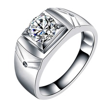 Luxe Klassieke 1.0ct Diamond Engagement <span class=keywords><strong>Ring</strong></span> Mens Zilver Vacuüm Platina <span class=keywords><strong>Plating</strong></span> Ringen Groothandel Sieraden XEYMJZ001